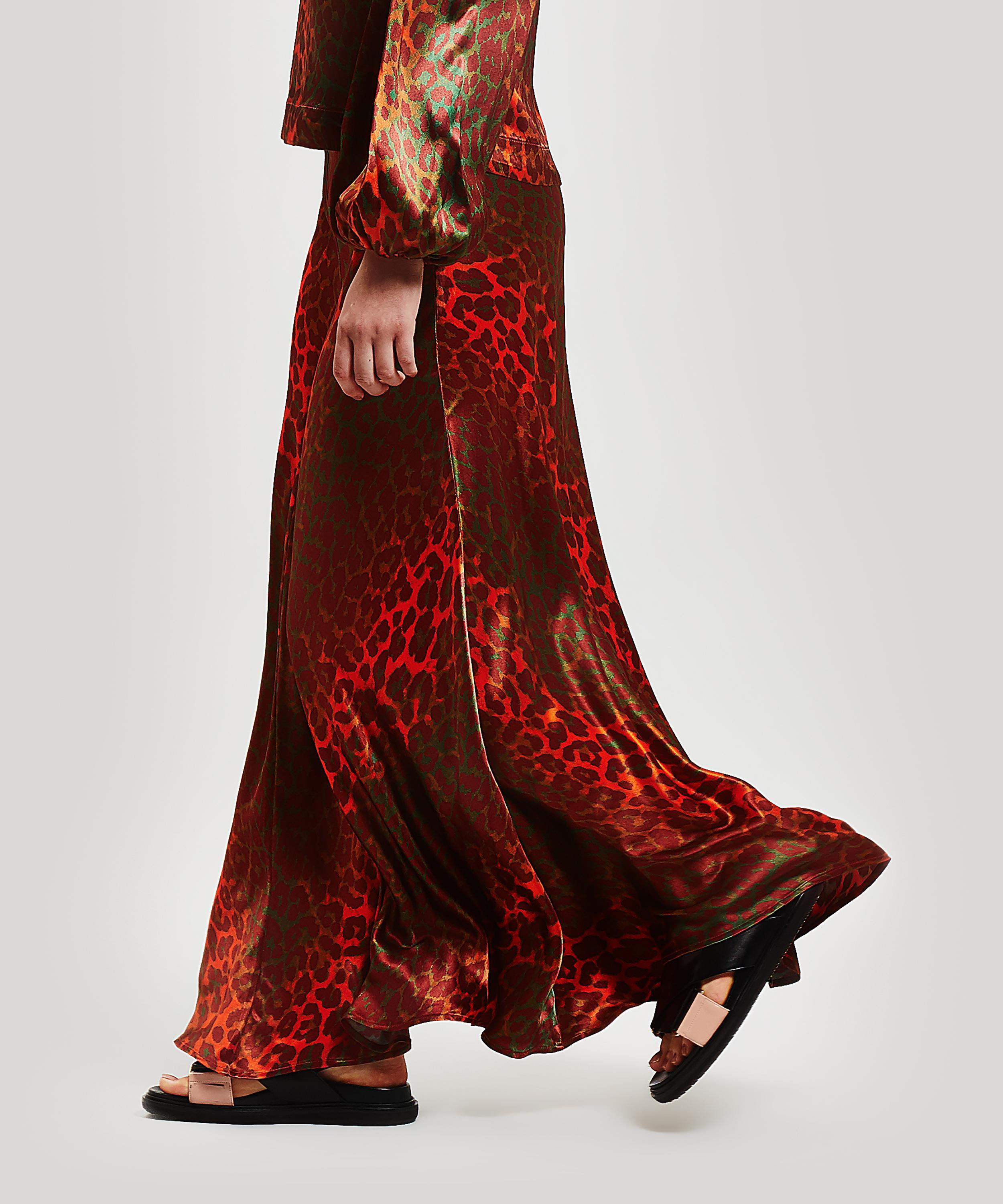 2b316843f ... Leopard Print Heavy Satin Maxi-skirt - Lyst. View fullscreen