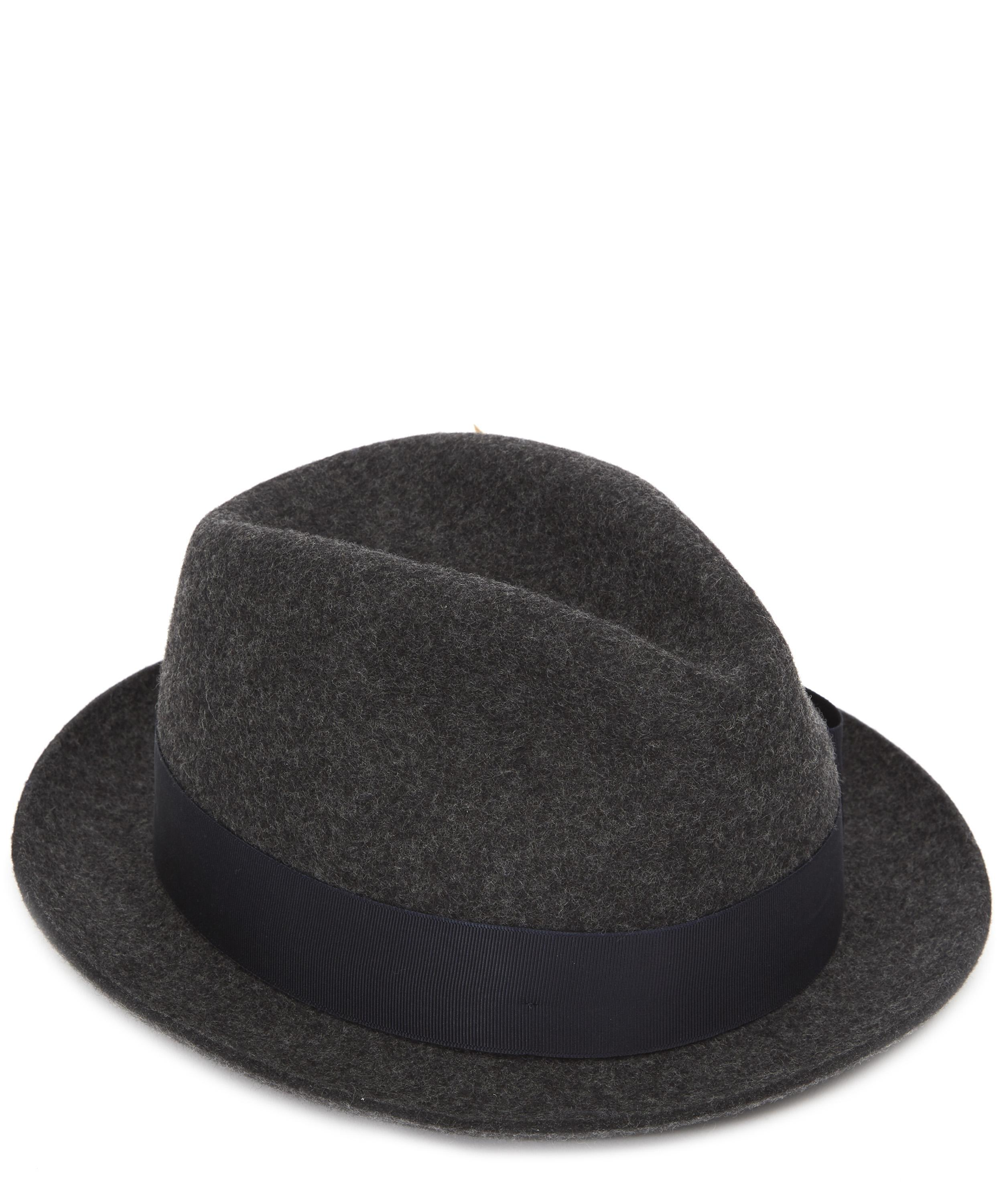 e5cce5e61aff9e Paul Smith Wool-felt Feather Trilby Hat in Gray for Men - Lyst