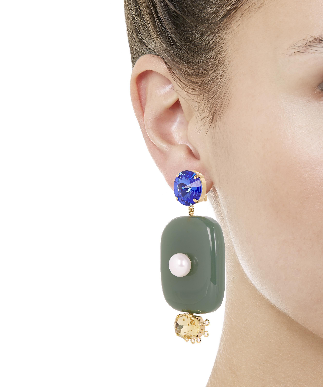 Résine, Cristal Et Boucles D'oreilles Clip Perle De Faux - Marni Jaune