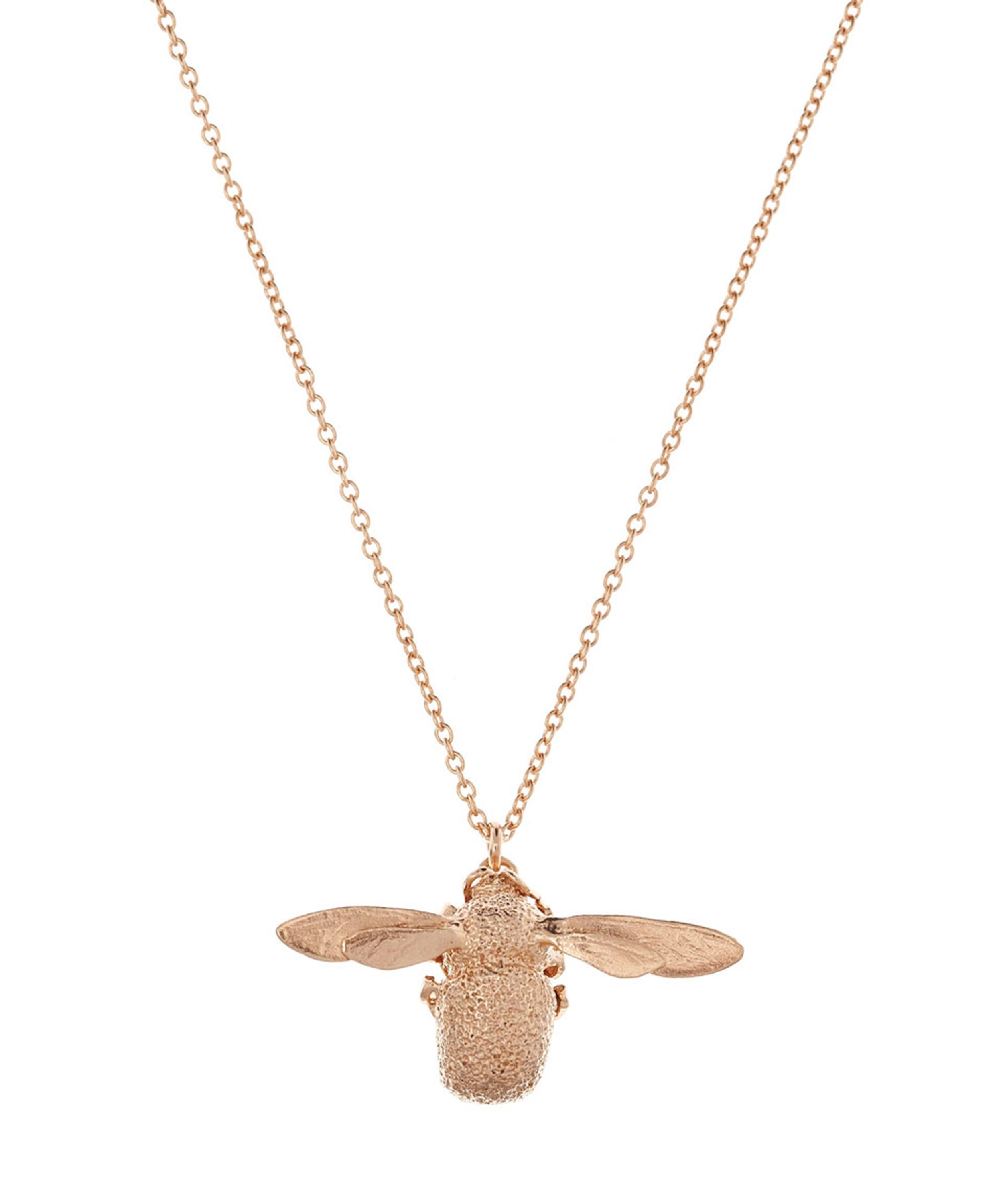 Gold Plated Sterling Silver (Vermeil) Bumble Bee Pendant Necklace with Intricate Details wxqBCUlqX