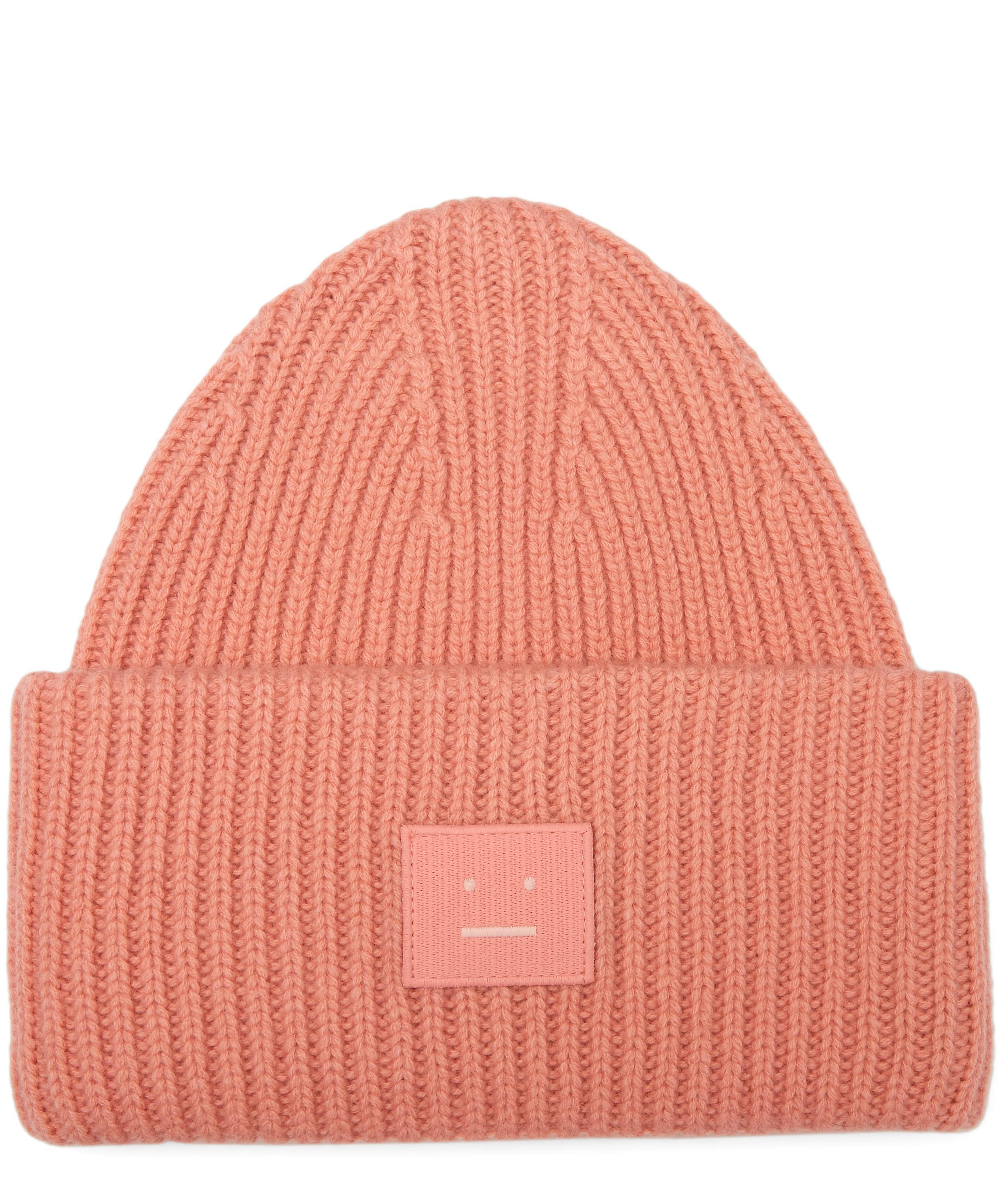 f28fc9bd8a0 Acne Pansy S Face Wool Beanie Hat in Pink for Men - Lyst