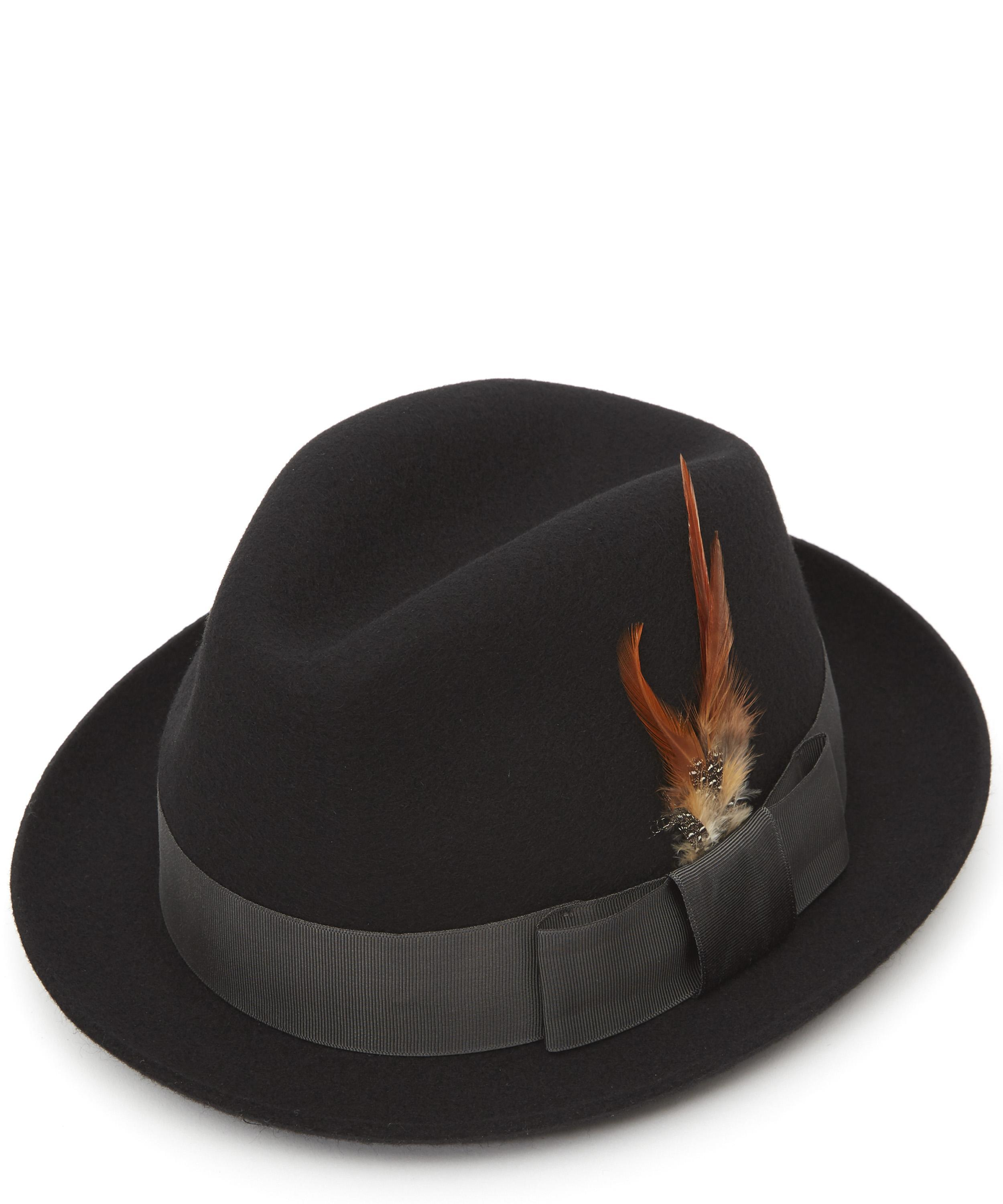 96a81e52685739 Paul Smith Wool-felt Feather Trilby Hat in Black for Men - Lyst