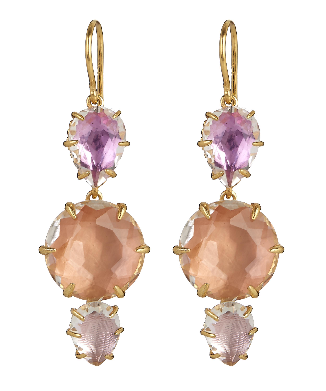 Larkspur & Hawk Caterina Baguette Triple-Drop Earrings, Blue