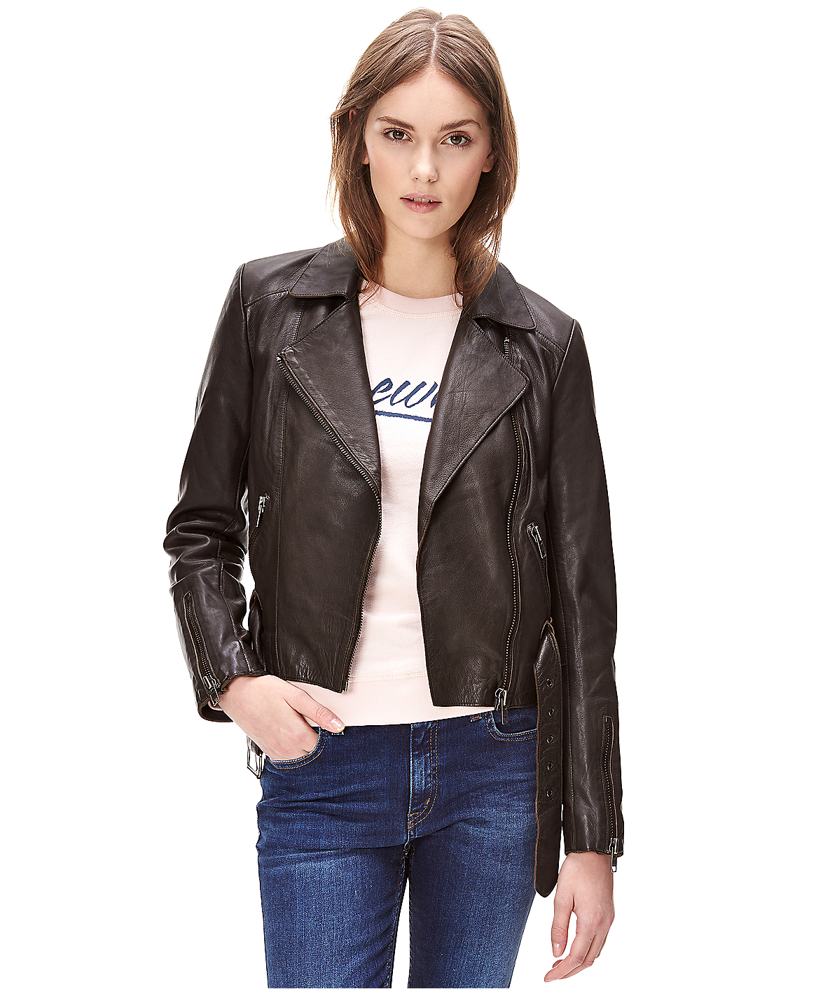 liebeskind berlin leather jacket with a belt in brown lyst