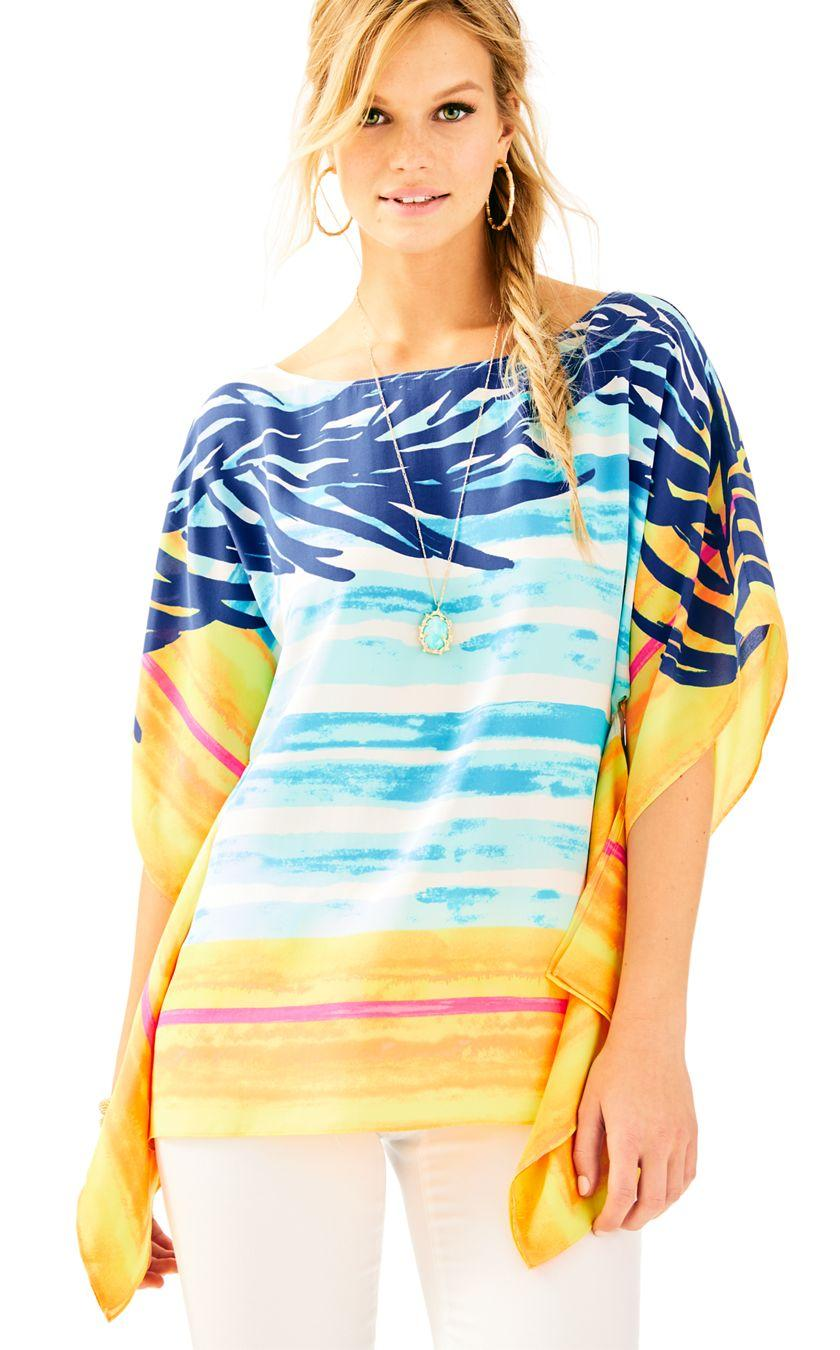 c27c2908ea3c8b Lilly Pulitzer Rowan Silk Caftan Top in Blue - Lyst