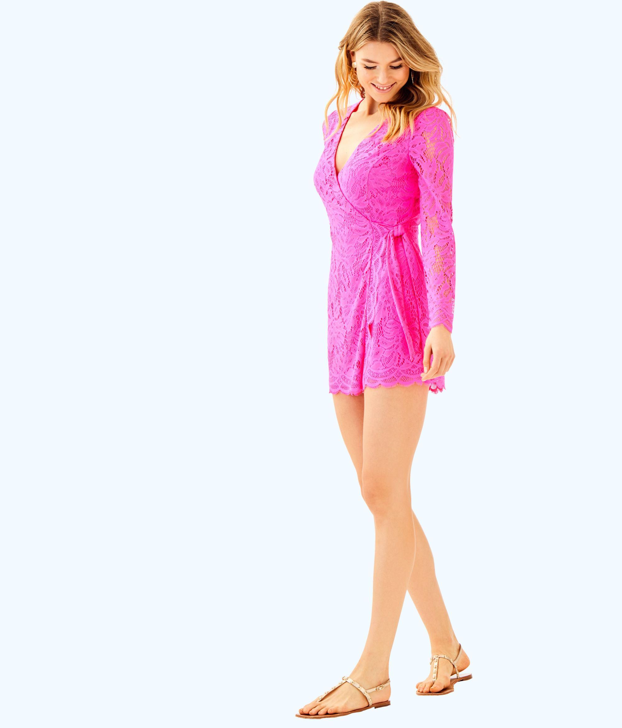 d7feea142ae Lyst - Lilly Pulitzer Tiki Wrap Romper in Pink