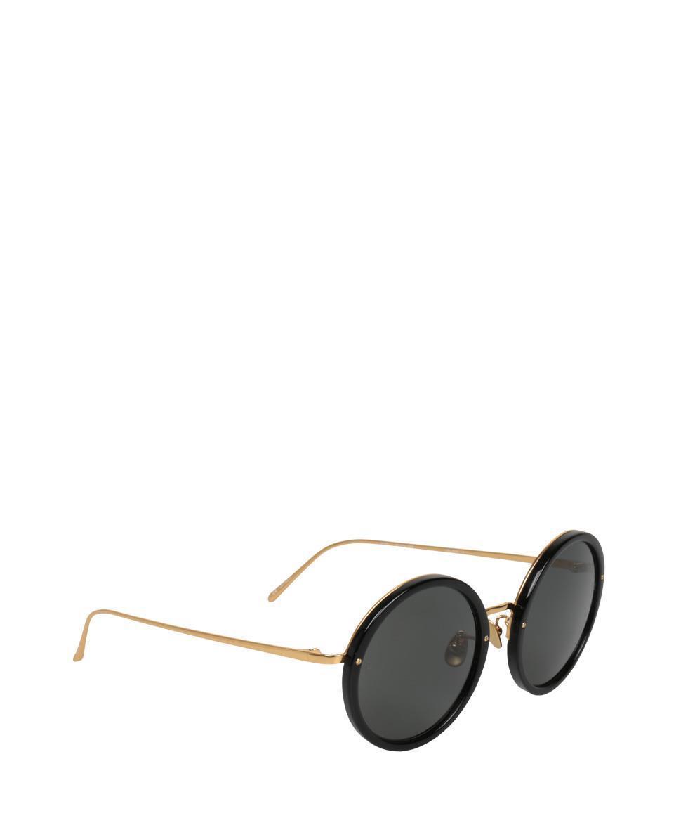 0282f94994 Lyst - Linda Farrow Round 239 C11 Sunglasses in Black - Save 1%
