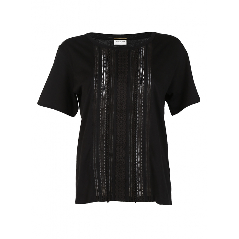 Saint Laurent T Shirt Embroidered Black In Black Lyst
