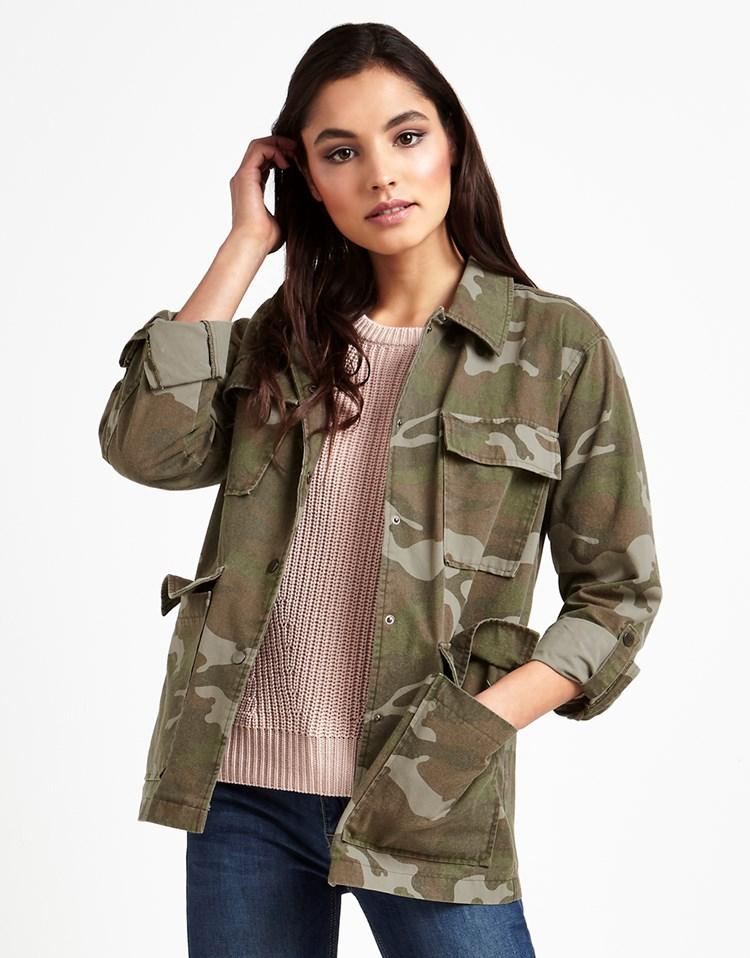 Vero Moda Camo Embroidered Jacket In Green  Lyst