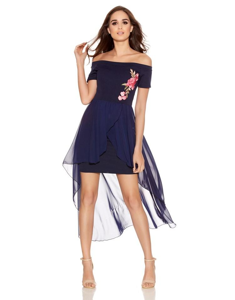 Quiz Navy Bardot Embroidered Dress In Blue Lyst