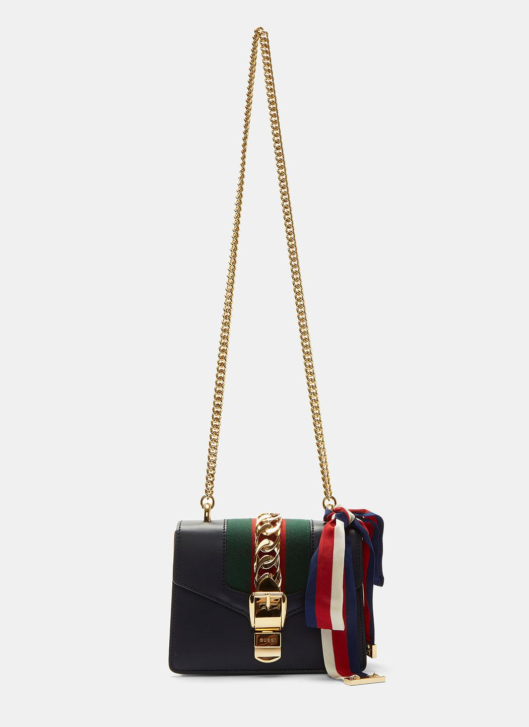 ad6dc4f77159c Gucci Sylvie Chain Mini Shoulder Bag In Navy in Blue - Lyst