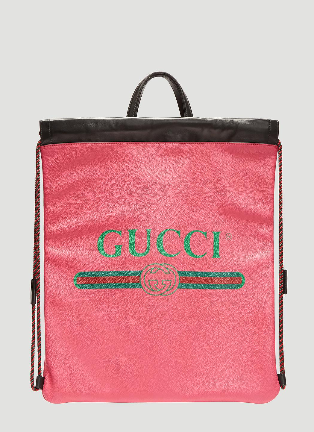 Gucci Pink Logo Print Leather Backpack in Pink for Men - Save 15% - Lyst 271f9b9da4a3b