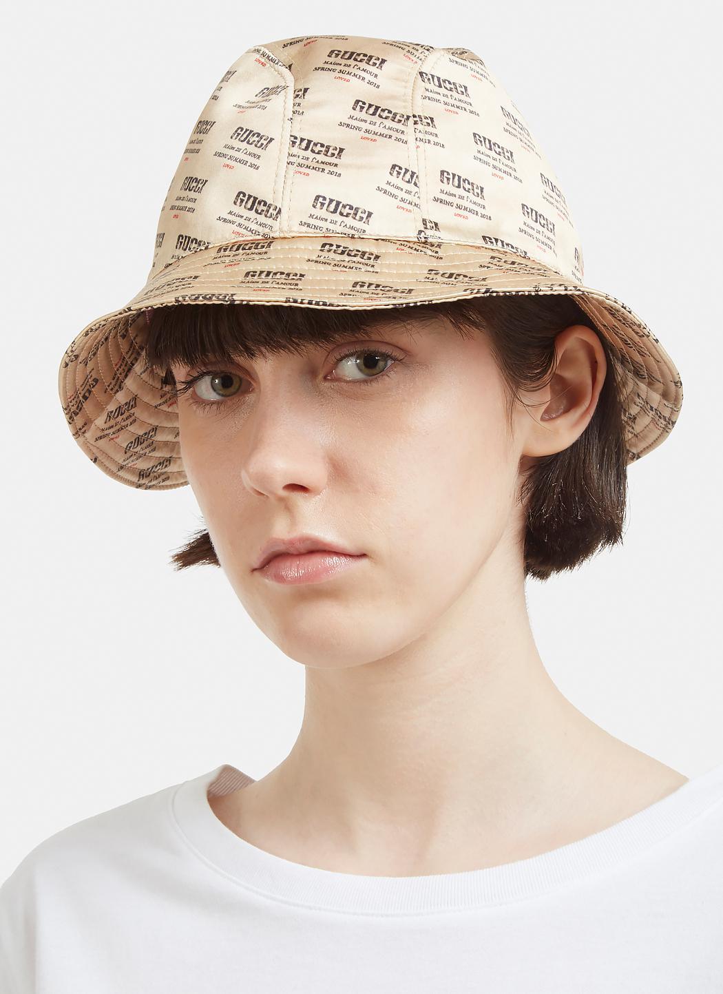 01bfcc82fcf Gucci invite print bucket hat in beige in natural lyst jpg 1050x1443 Sun hat  invitations