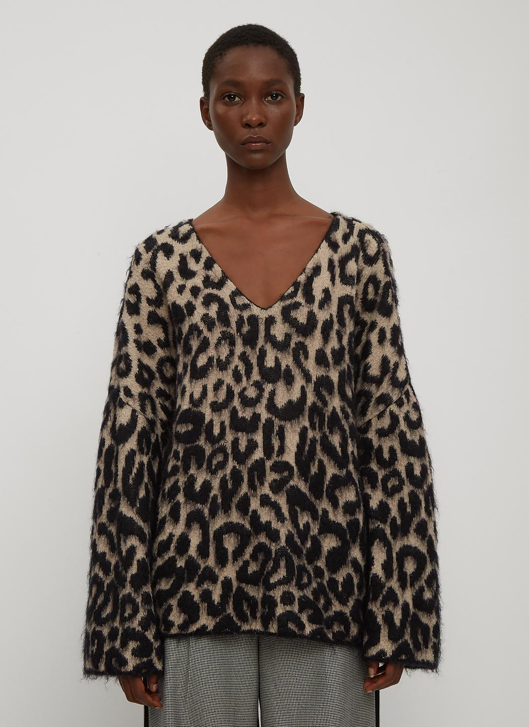 Stella Mccartney V Neck Leopard Print Sweater In Brown In