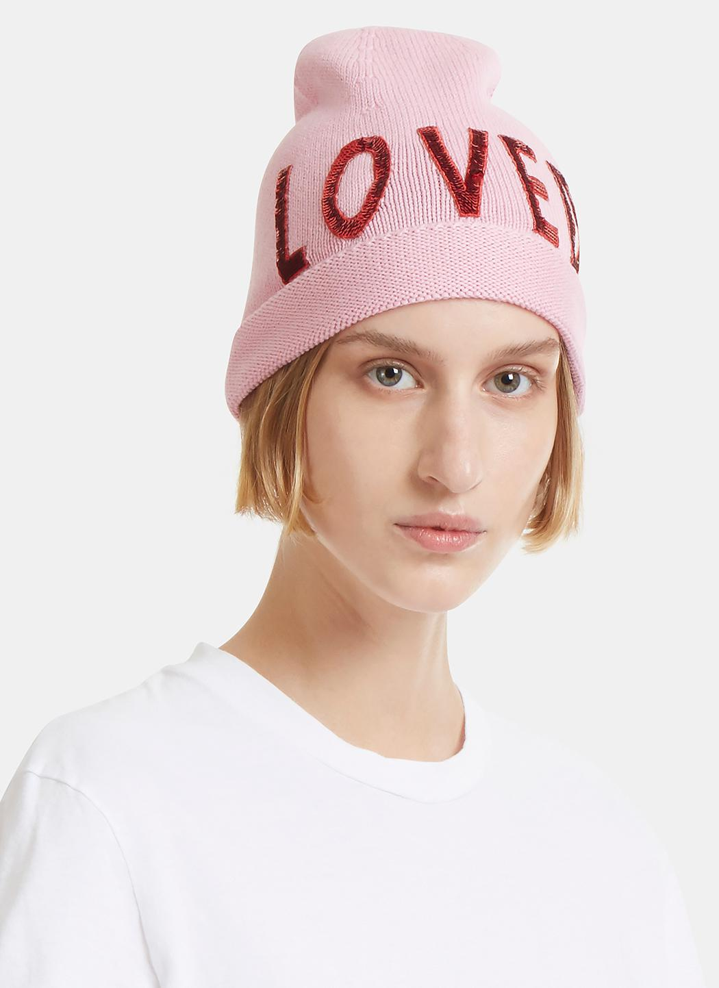 Lyst - Gucci Sequin Embroidered Loved Knit Hat In Pink in Pink e729861c825