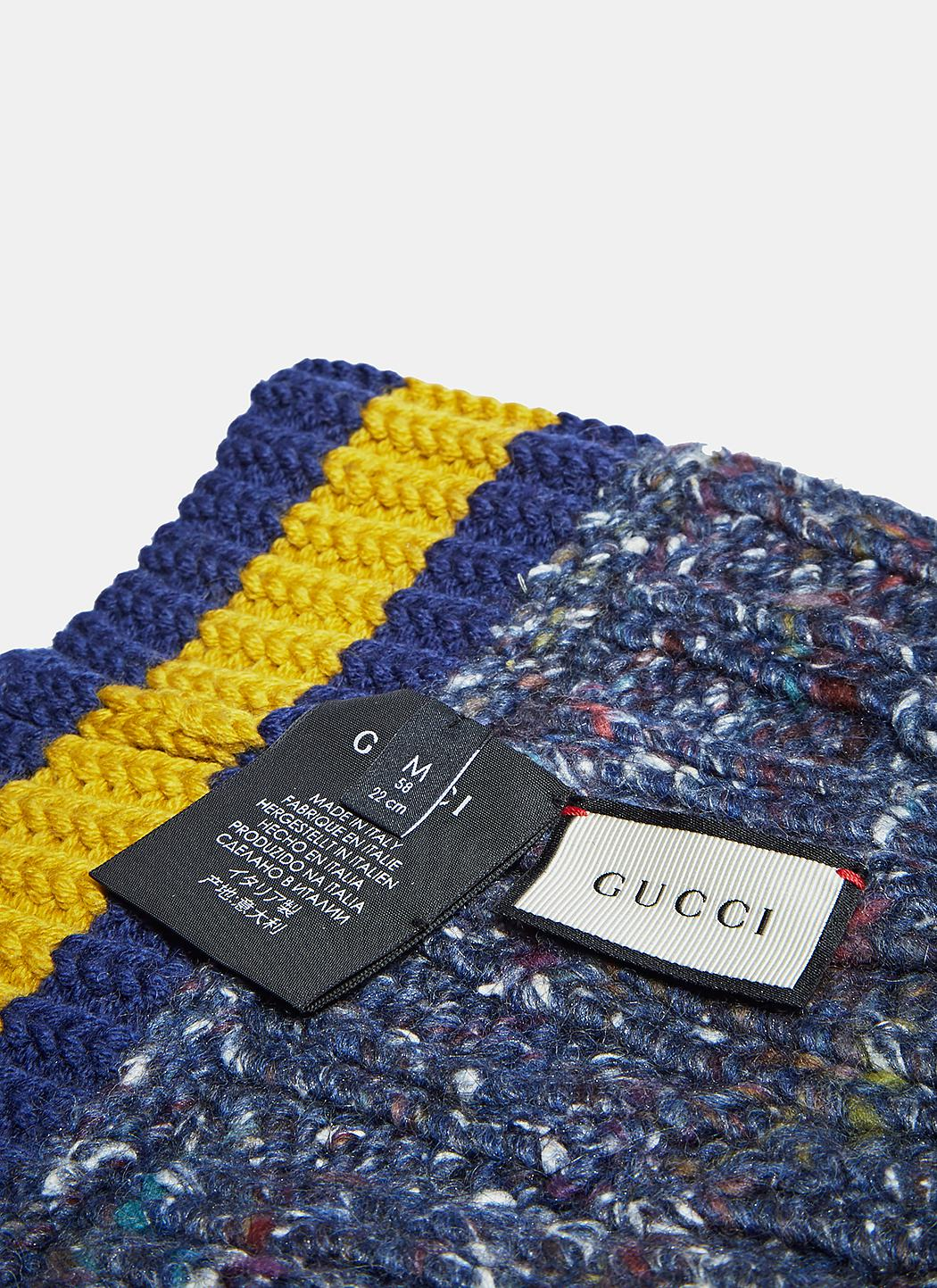 093d9404e299 Lyst - Gucci Men s Oversized Cable Knit Beanie In Navy in Blue for Men