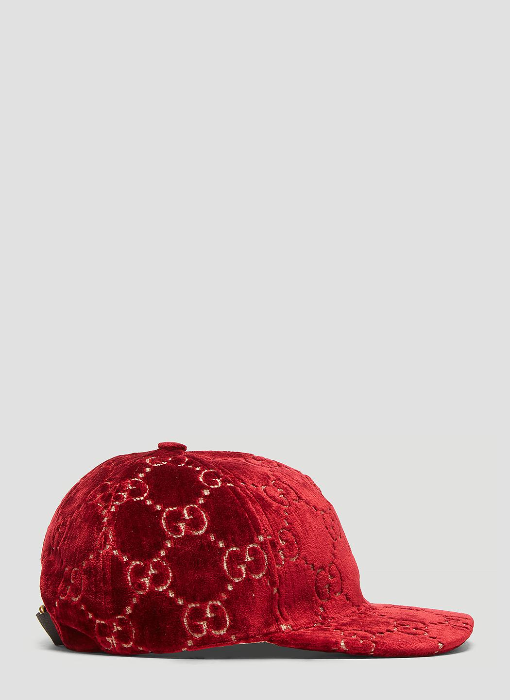 616259268ec Gucci Logo Embroidered Velvet Baseball Cap - in Red - Save 26% - Lyst