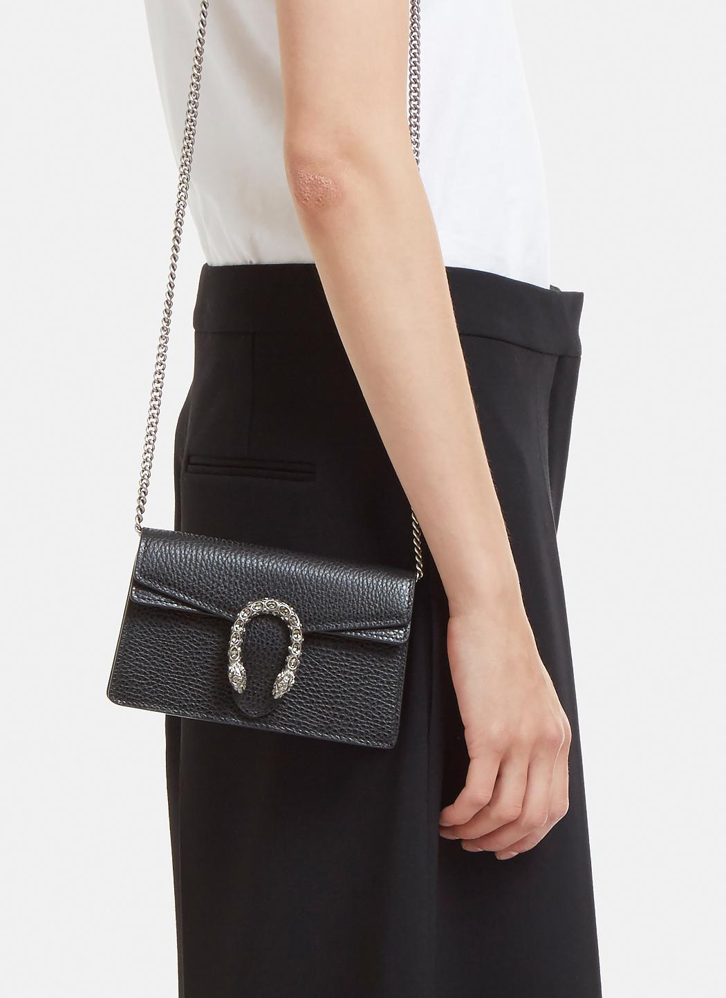 ba66c0dc9cc Lyst - Gucci Mini Crystal Dionysus Bag In Black in Black
