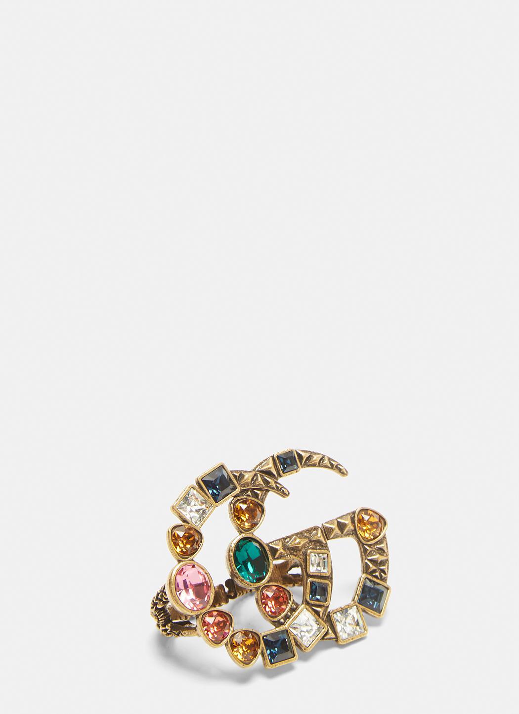Gucci crystal Double G ring - Metallic NJOa9