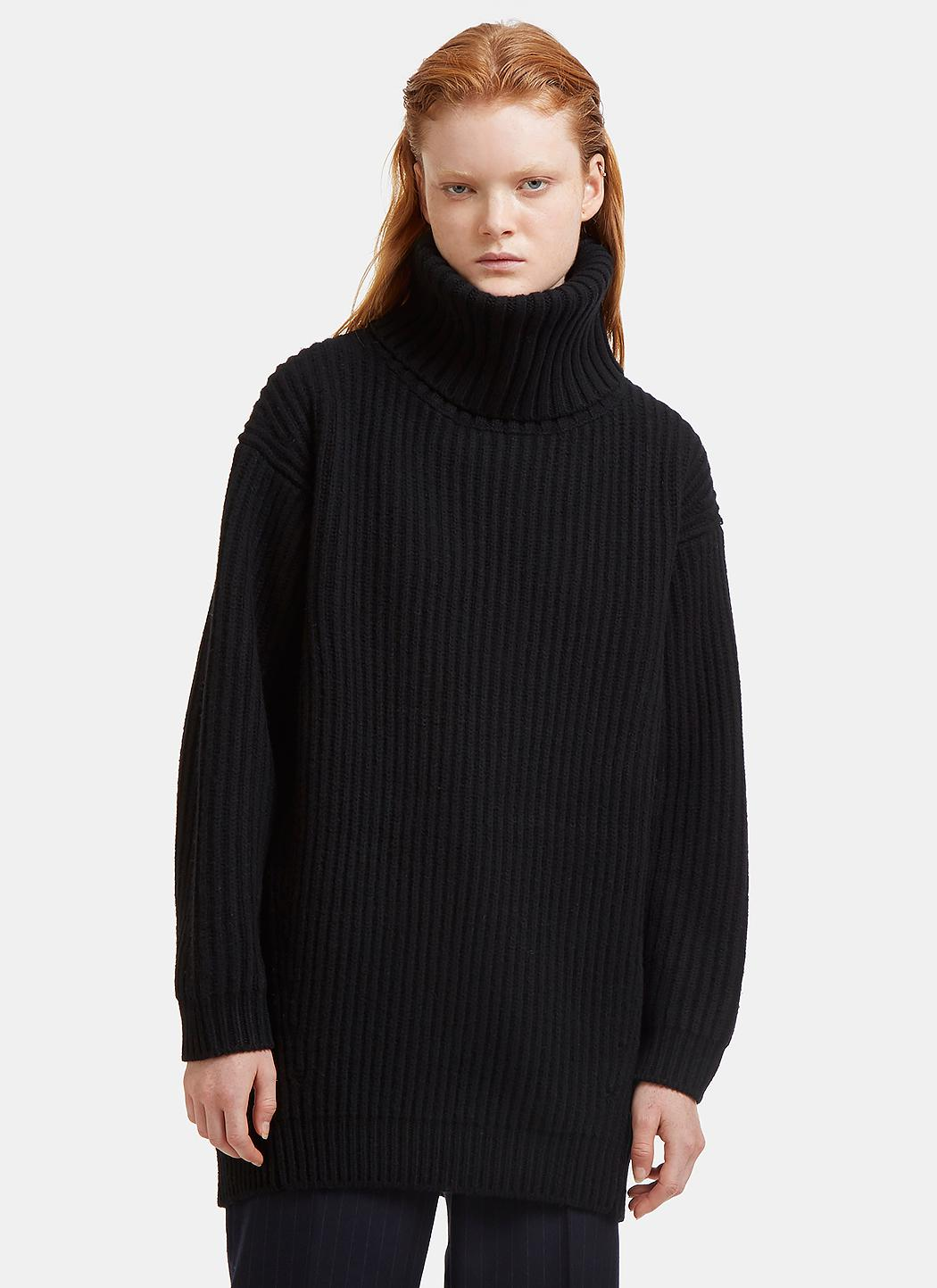 Acne Disa Oversized Ribbed Knit Sweater In Black in Black | Lyst