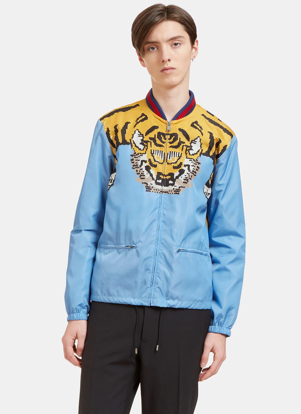 Lyst Gucci Men S Tiger Print Windbreaker Bomber Jacket