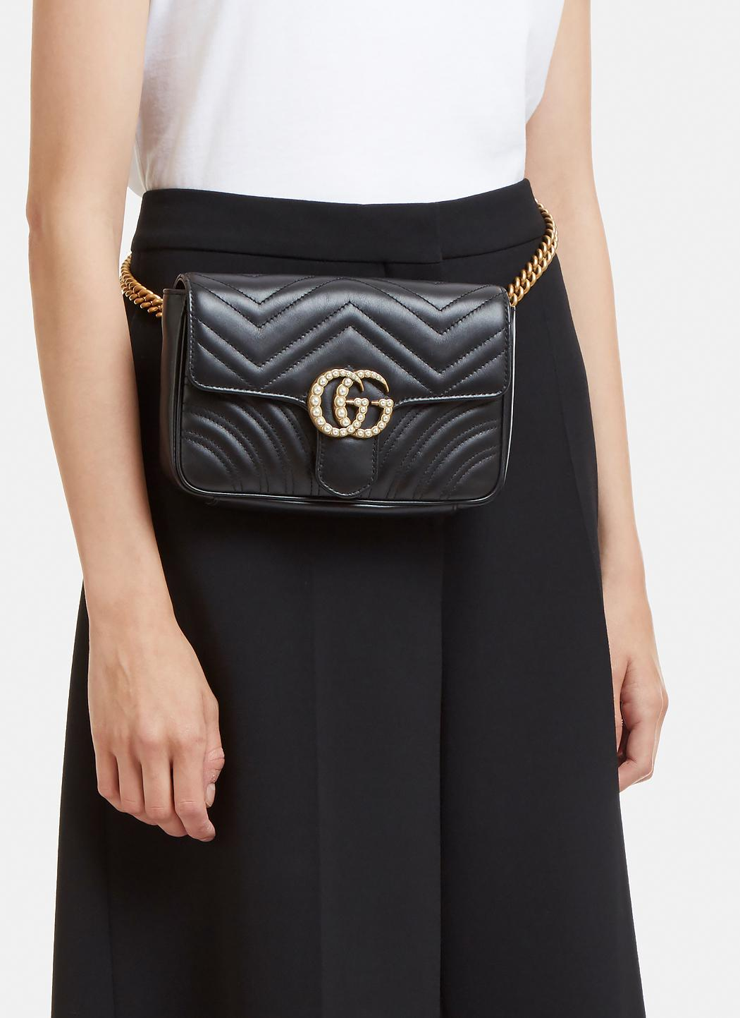 Lyst Gucci Marmont 2 0 Gg Pearl Bag In Black In Black