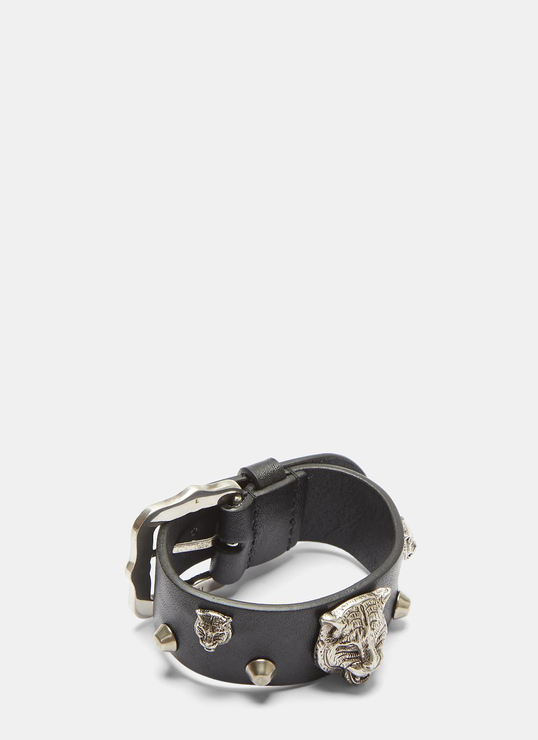 Gucci Feline Studded Leather Buckle Bracelet VzPrNVT