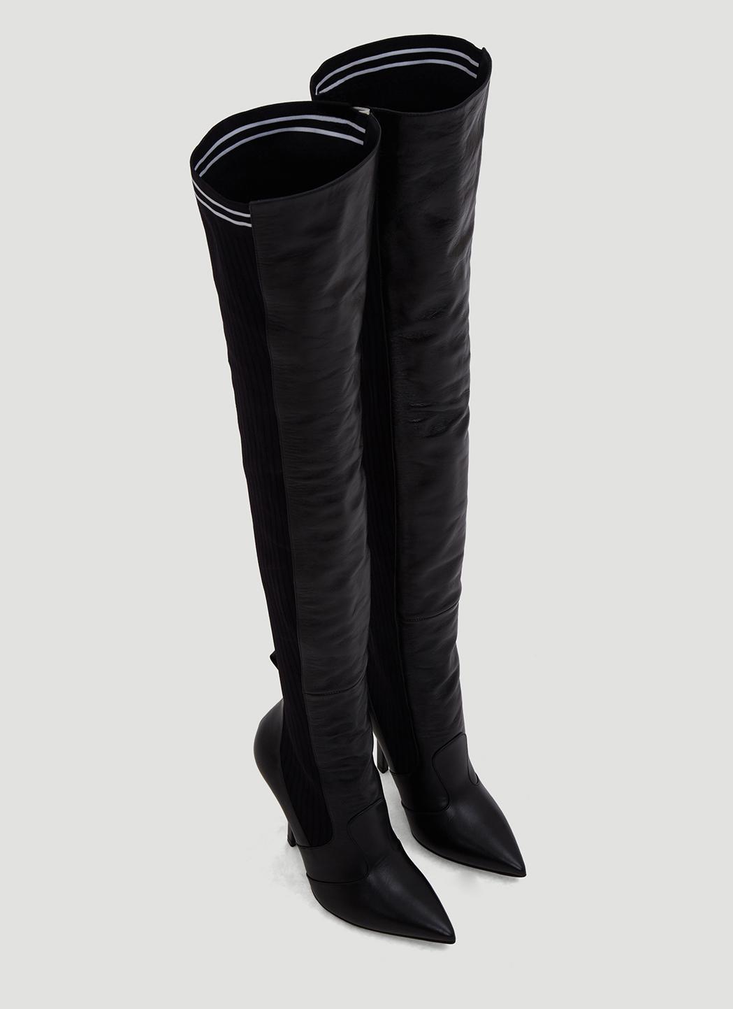 2f6673bce16 Fendi - Black Leather Thigh-high Sock Boots In Black - Lyst. View fullscreen