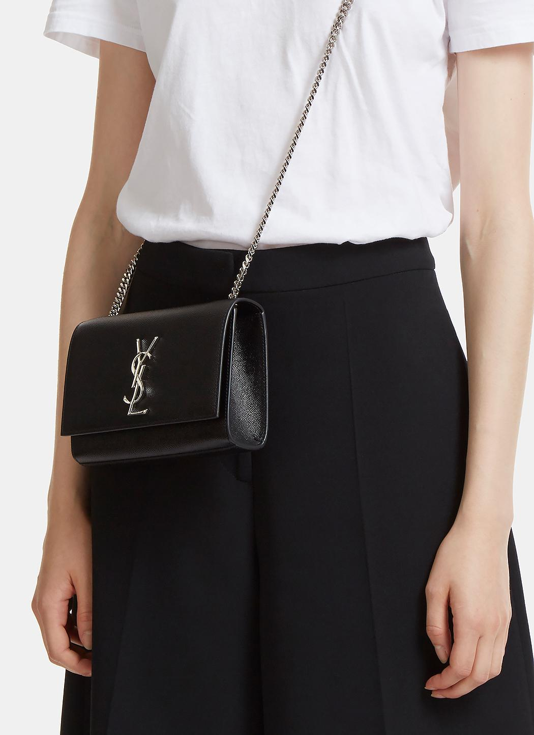 50c08d59071 Saint Laurent Small Kate Grain De Poudre Chain Bag In Black in Black ...