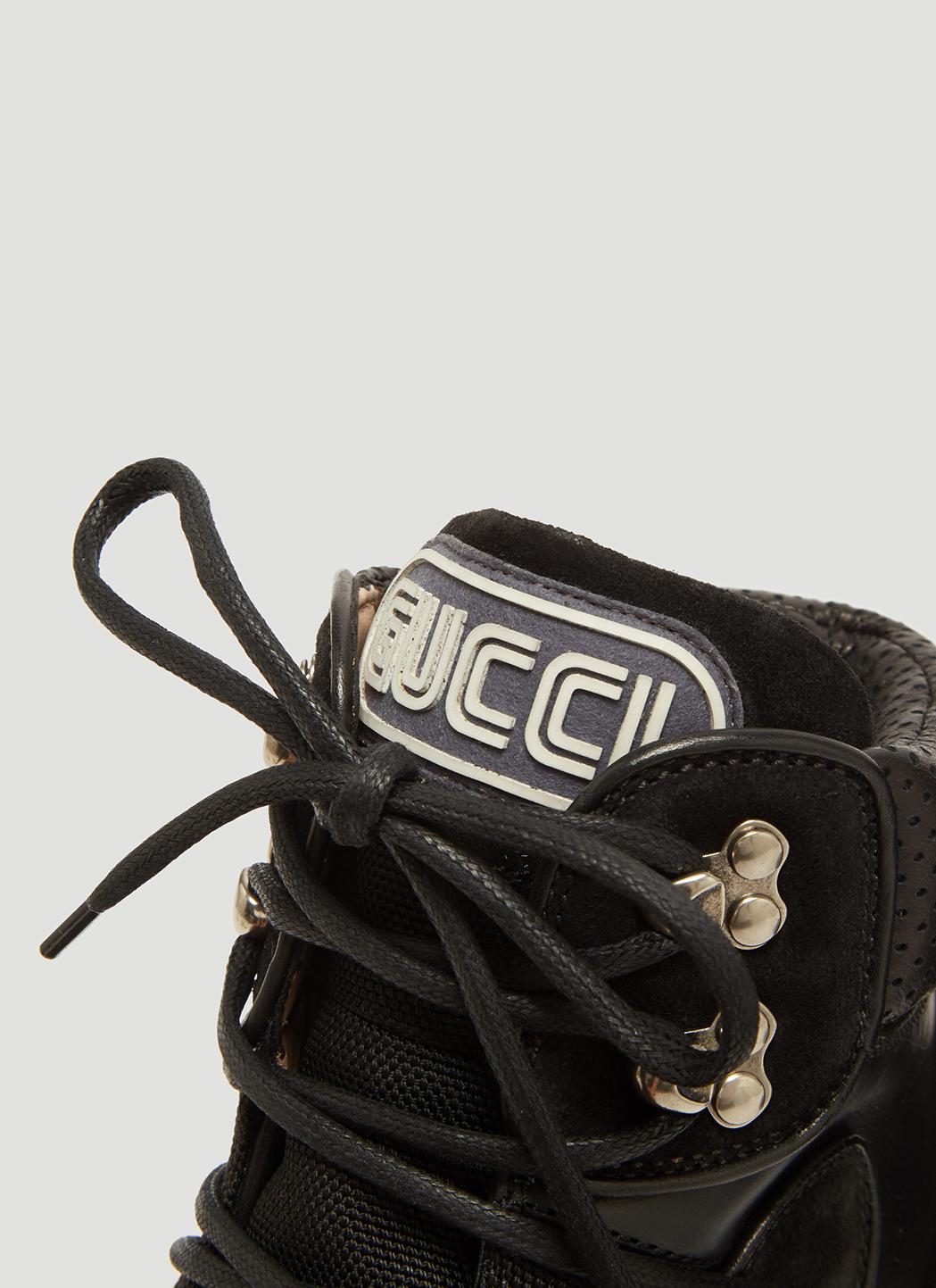 84837900fa4f Lyst - Gucci Flashtrek Wool Lined Leather High Top Trainers in Black ...
