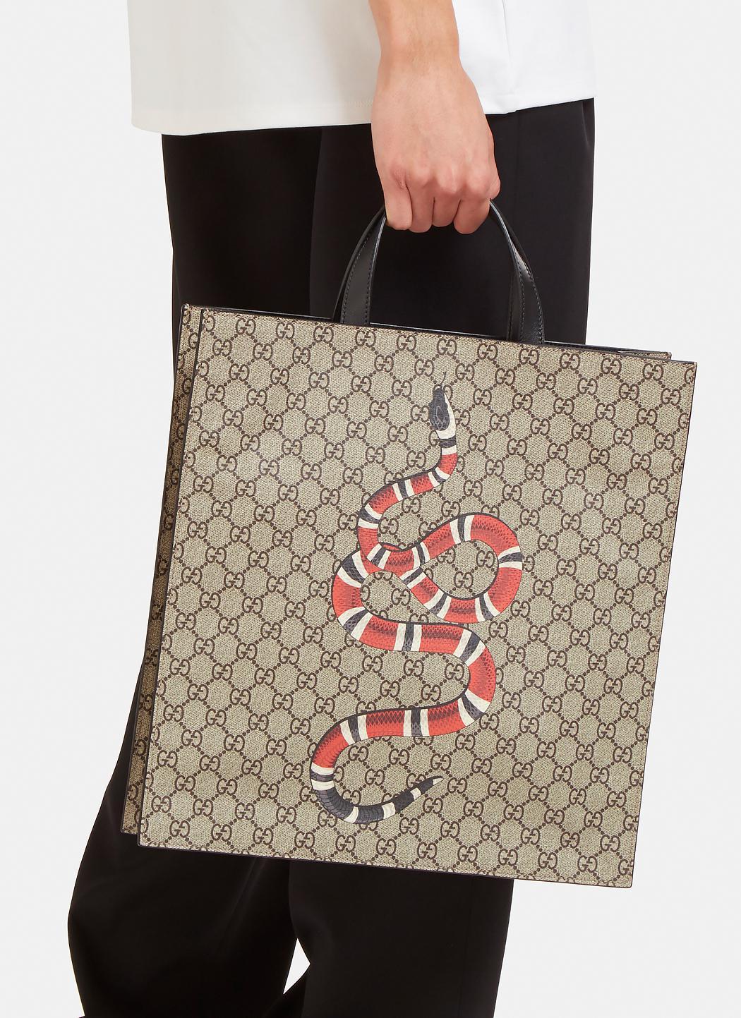 c04ad68668c8b8 Gucci Men's Snake Print Gg Supreme Tote Bag In Brown in Brown - Lyst