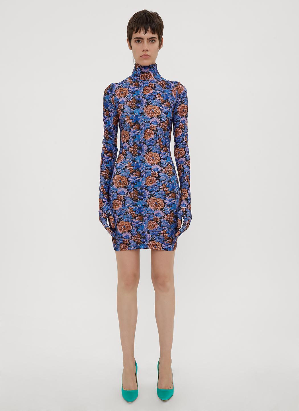 Lyst - Vetements Floral-print Glove-sleeve Jersey Dress in Blue ...