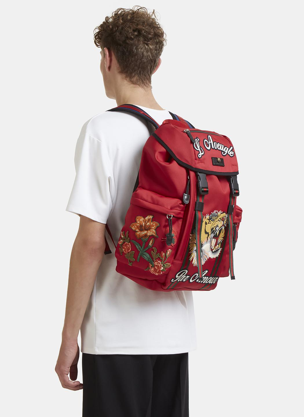 73af3e5a67c Lyst - Gucci Embroidered Canvas Backpack in Red for Men