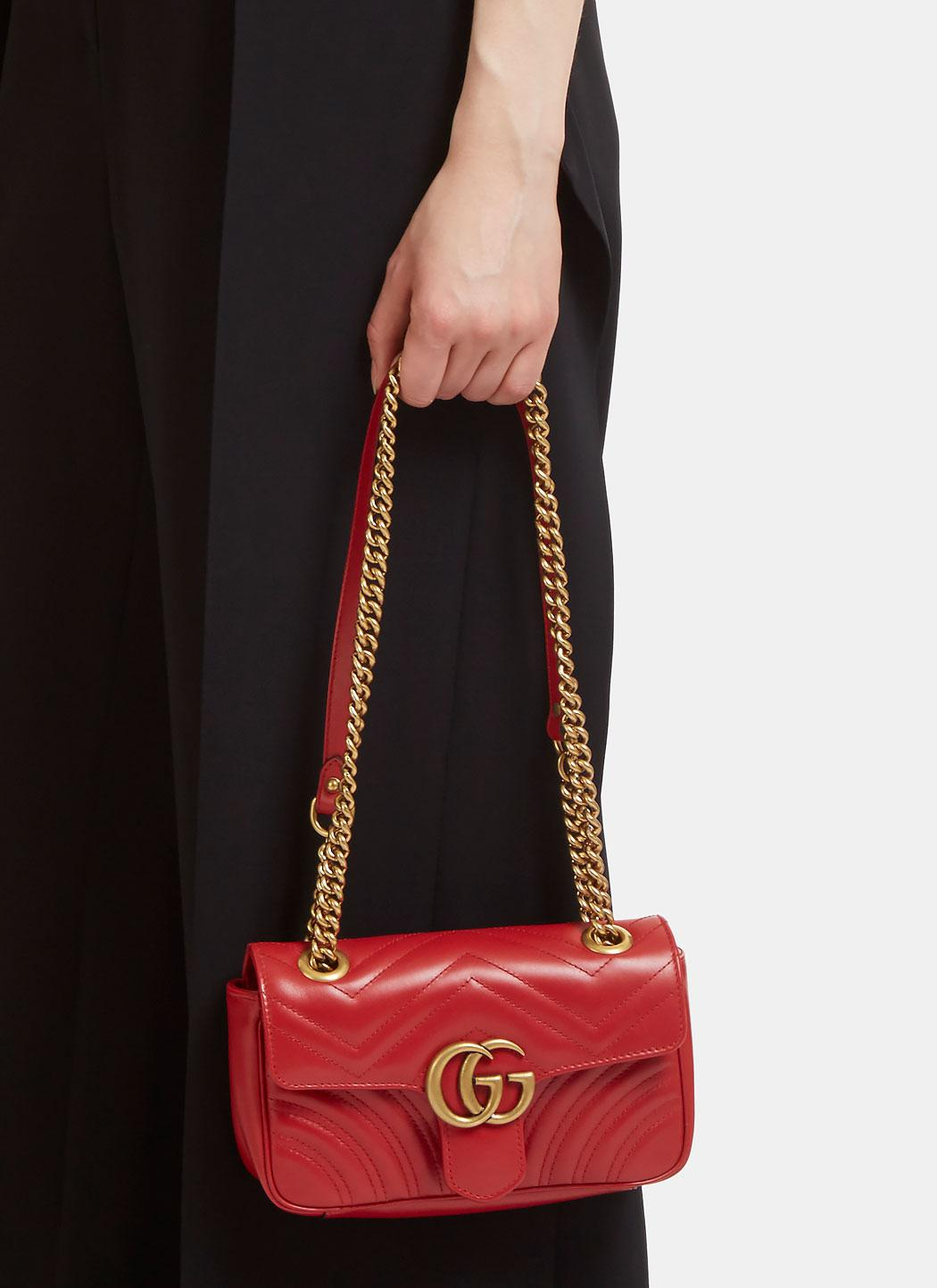 0d8f6ecd3c6 Lyst - Gucci Gg Marmont Matelassé Mini Chain Shoulder Bag In Red in Red