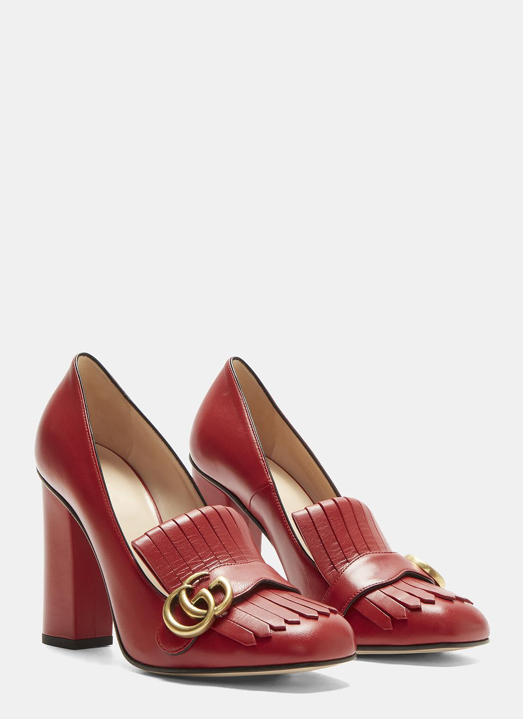 74406e8267 Gucci GG High-heel Fringed Marmont Pumps In Red in Red - Lyst