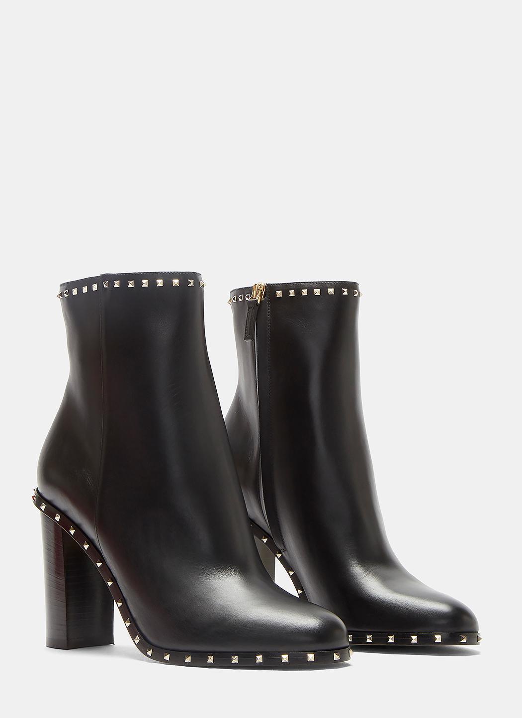 c9a2fa07f Valentino Pyramid-studded Heeled Ankle Boots In Black in Black - Lyst