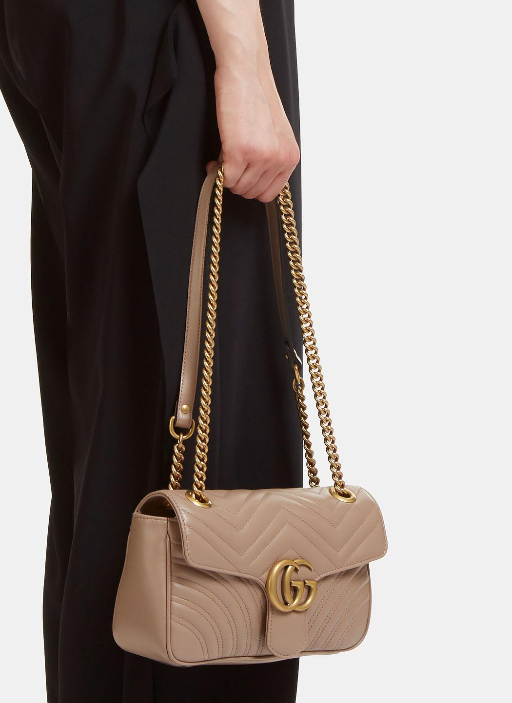 9434817f2b8 Gucci Gg Marmont Matelassé Small Chain Shoulder Bag In Taupe in ...