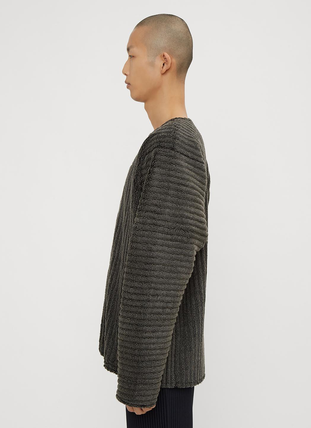Jacket Fullscreen Ribbed Miyake For View Plissé In Grey Neck Issey Crew Homme Gray Zip Men q68gTaw