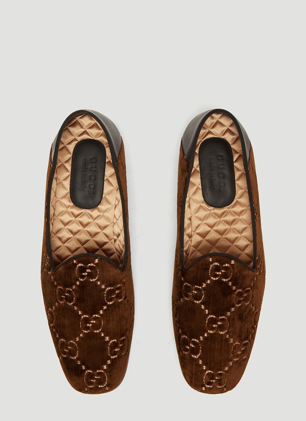 4b49188ce39 Gucci - Brown Gallipoli Logo Jacquard Velvet Loafers for Men - Lyst. View  fullscreen