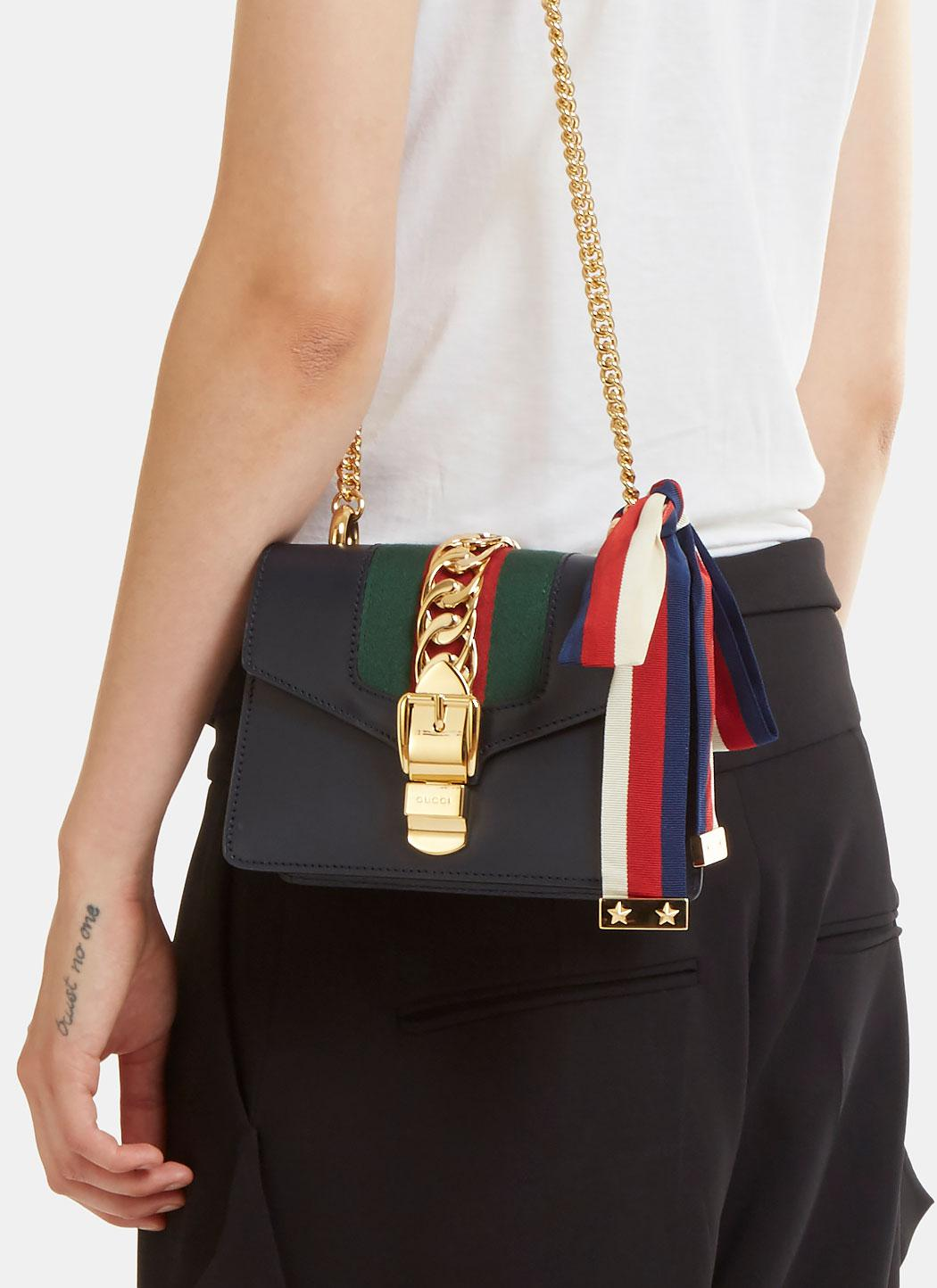 f76764a2d89392 Lyst - Gucci Sylvie Chain Mini Shoulder Bag In Navy in Blue