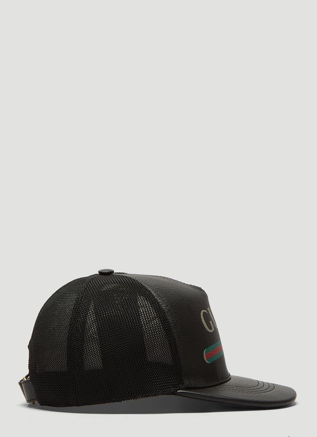 90c2104f3 ... Gucci - Leather Logo Trucker Cap In Black for Men - Lyst. Visit LN-CC.  Tap to visit site