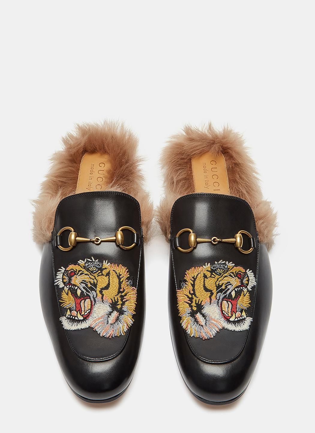 8988f7fca60c Lyst - Gucci Men s Princetown Tiger Embroidered Fur Slip-on Loafers ...
