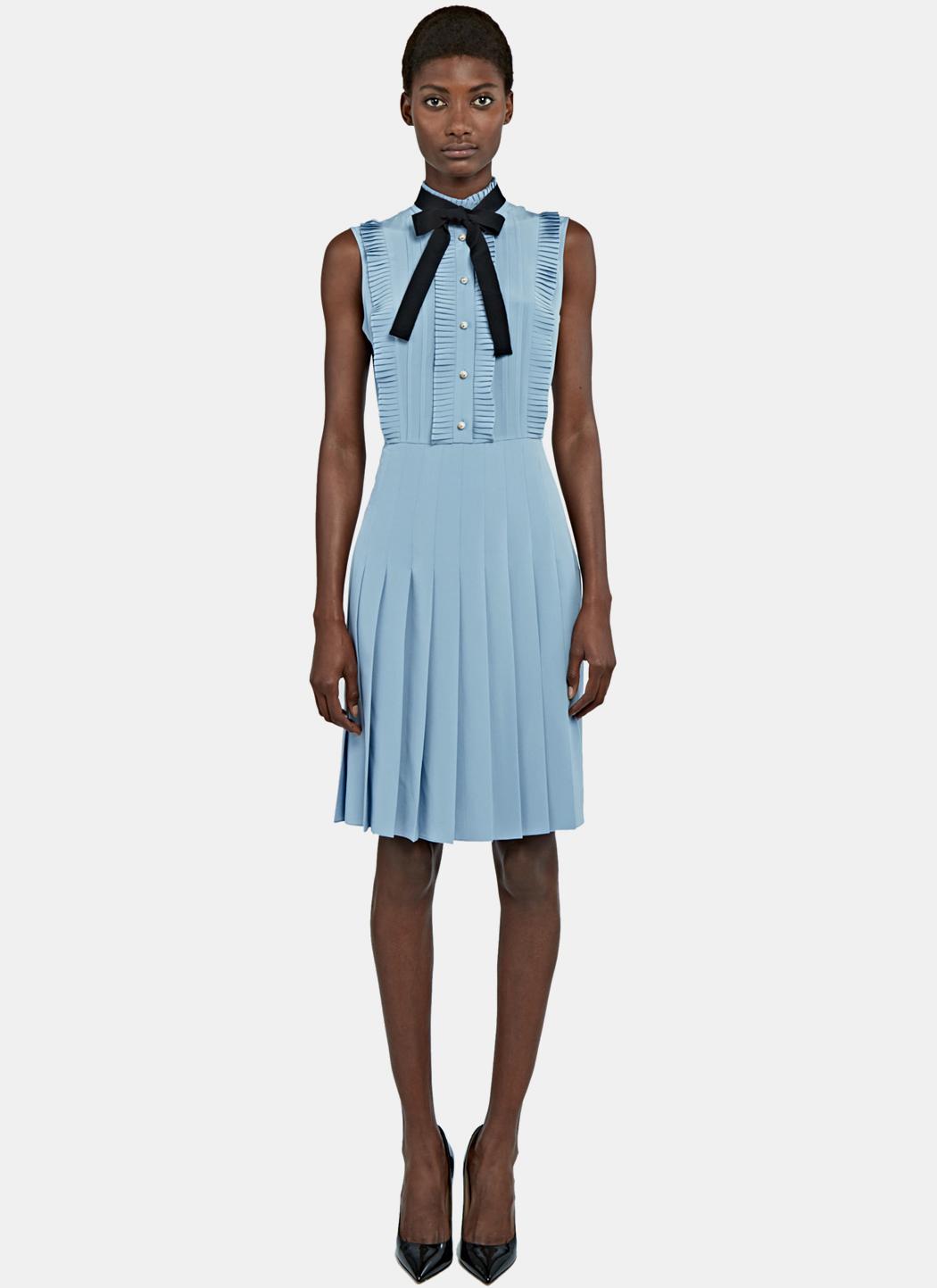 Lyst - Gucci Women\'s Ruffle Pleated Crêpe De Chine Dress In Blue in Blue