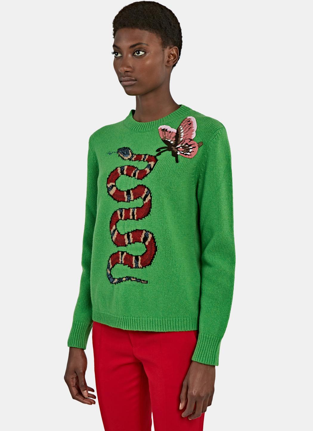 Lyst - Gucci Women s Snake Intarsia Knit Crew Neck Sweater In Green 0f67eeddf5