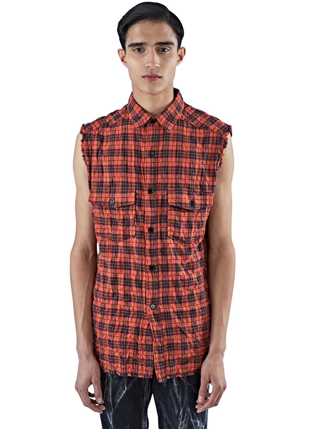 Gallery - Saint Laurent Men's Sleeveless Plaid Shirt Vest In Red In Black