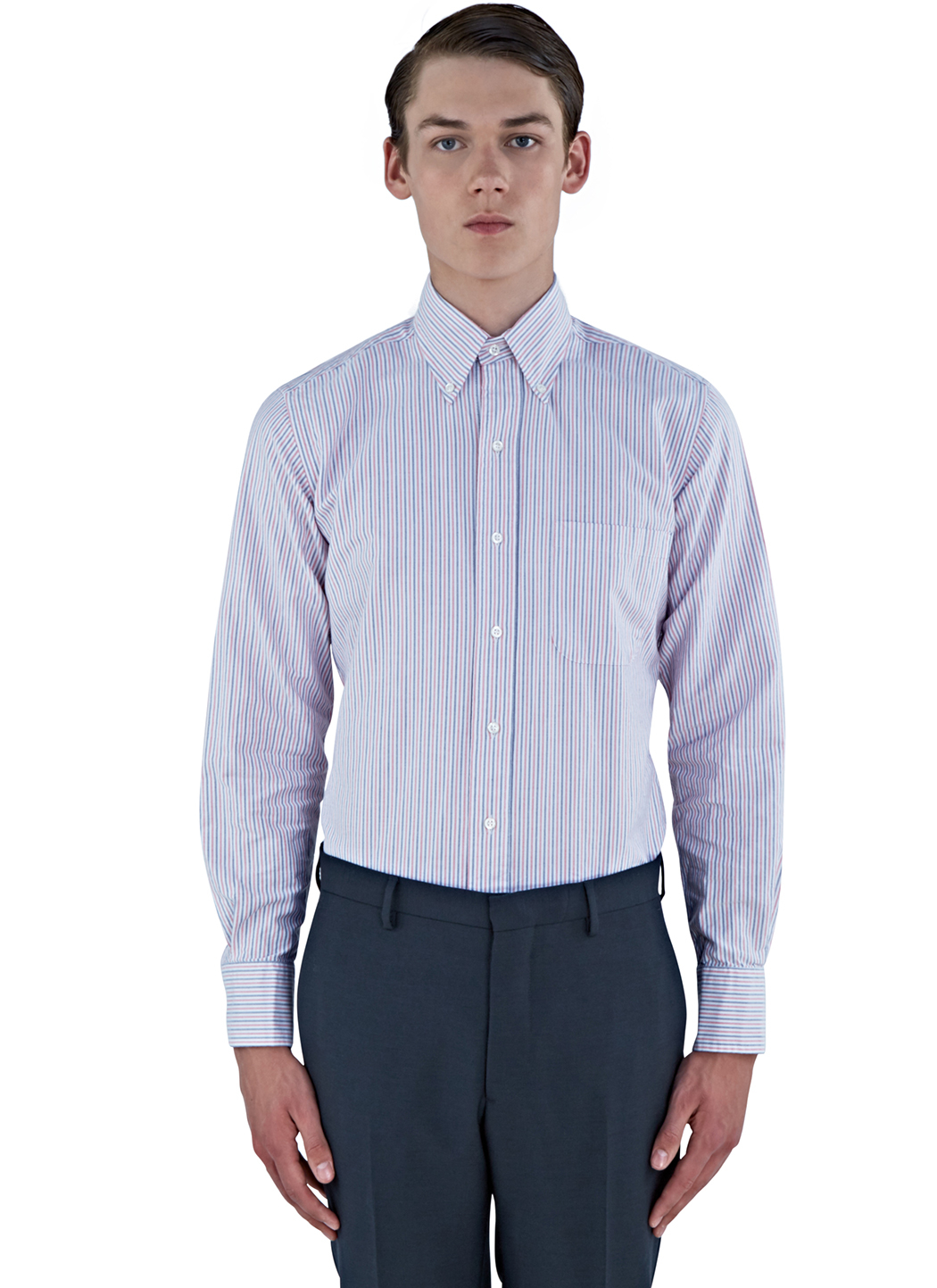 mens red striped oxford shirt