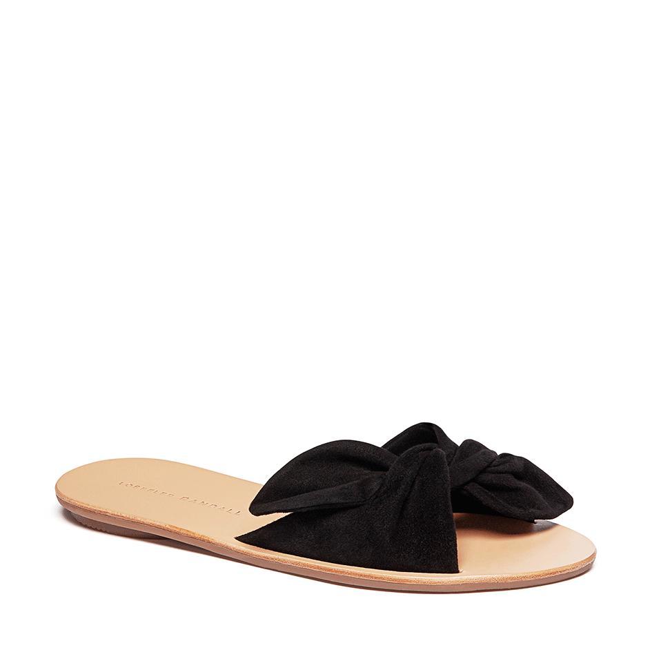 c86f20a0391 Lyst - Loeffler Randall Phoebe Knotted Sandal Slide (black Kid Suede ...