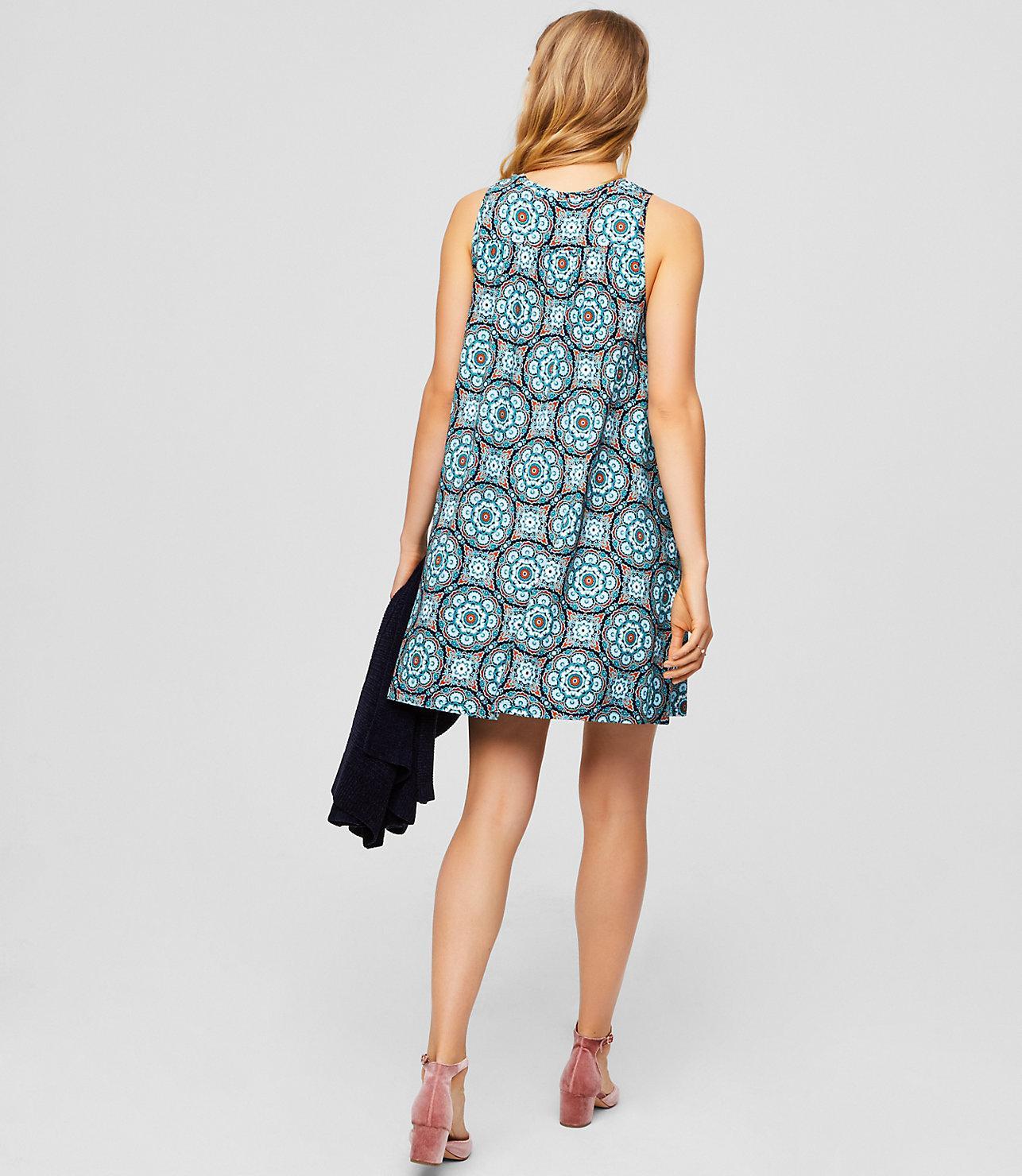 c1c077eba13 LOFT Petite Medallion Sleeveless Swing Dress in Blue - Lyst