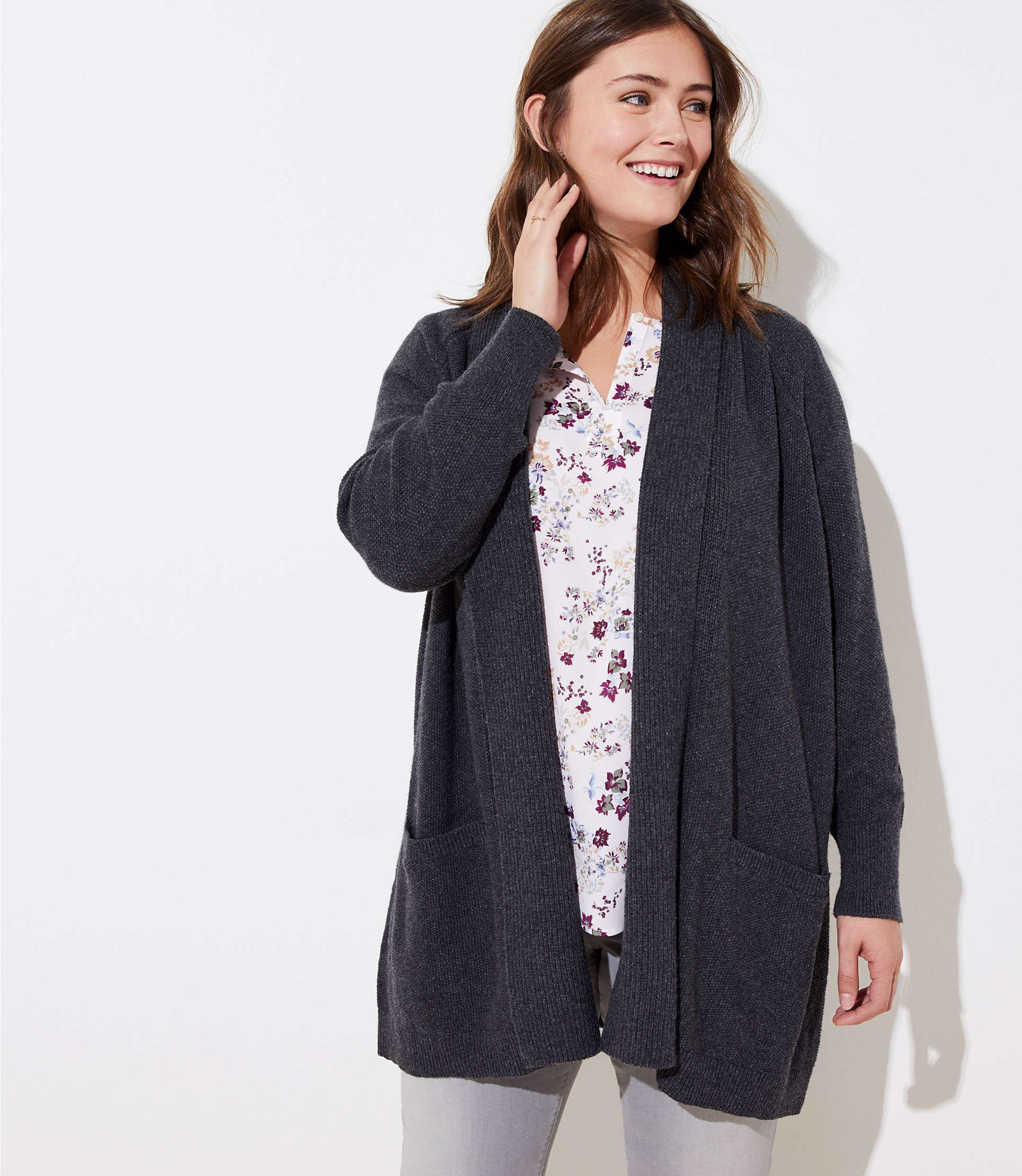 0a59a777d Lyst - Loft Plus Textured Shawl Pocket Open Cardigan in Blue