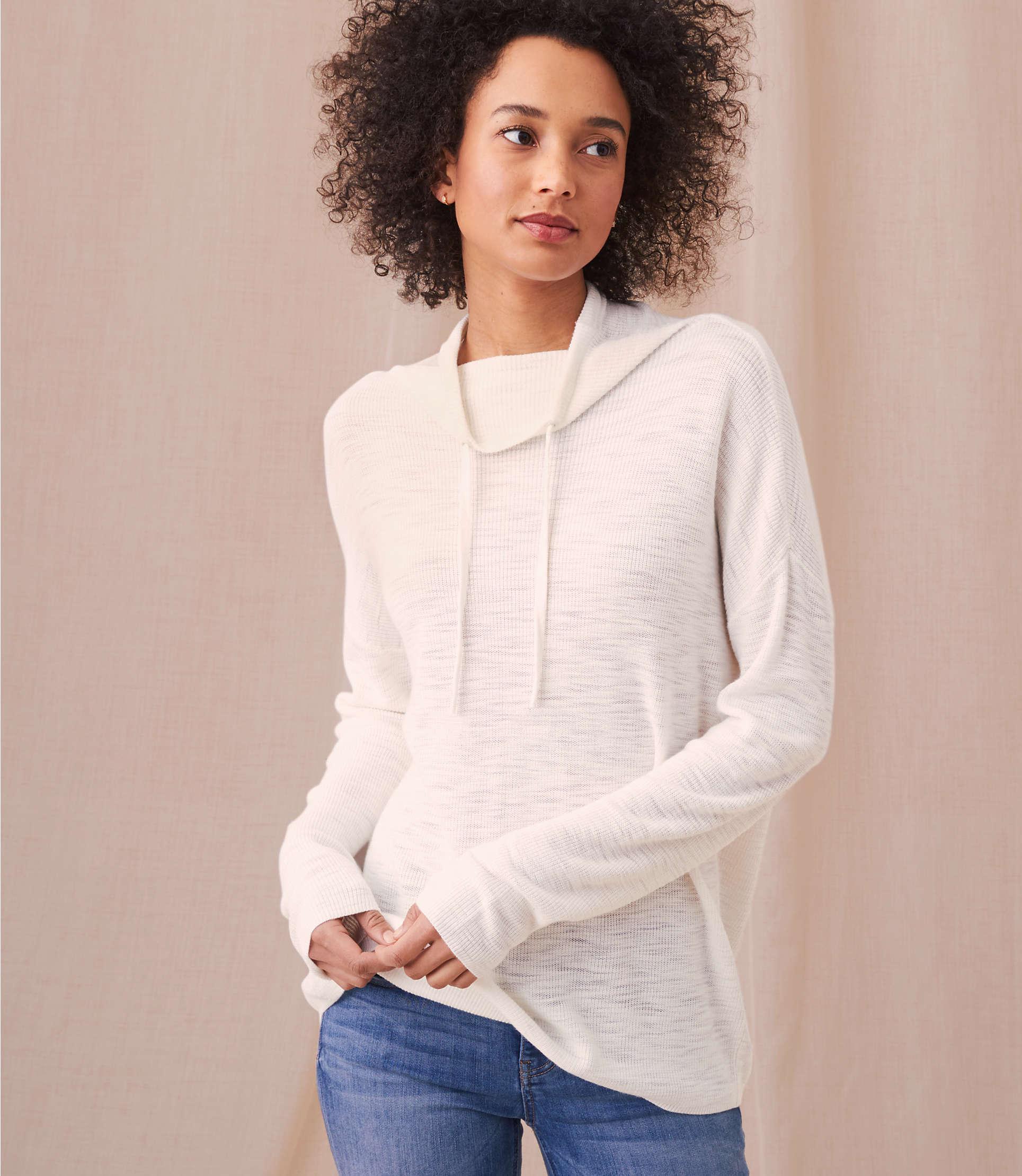 01cd11c9c25eb7 LOFT. Women s Lou   Grey Drawstring Neck Tunic Sweater